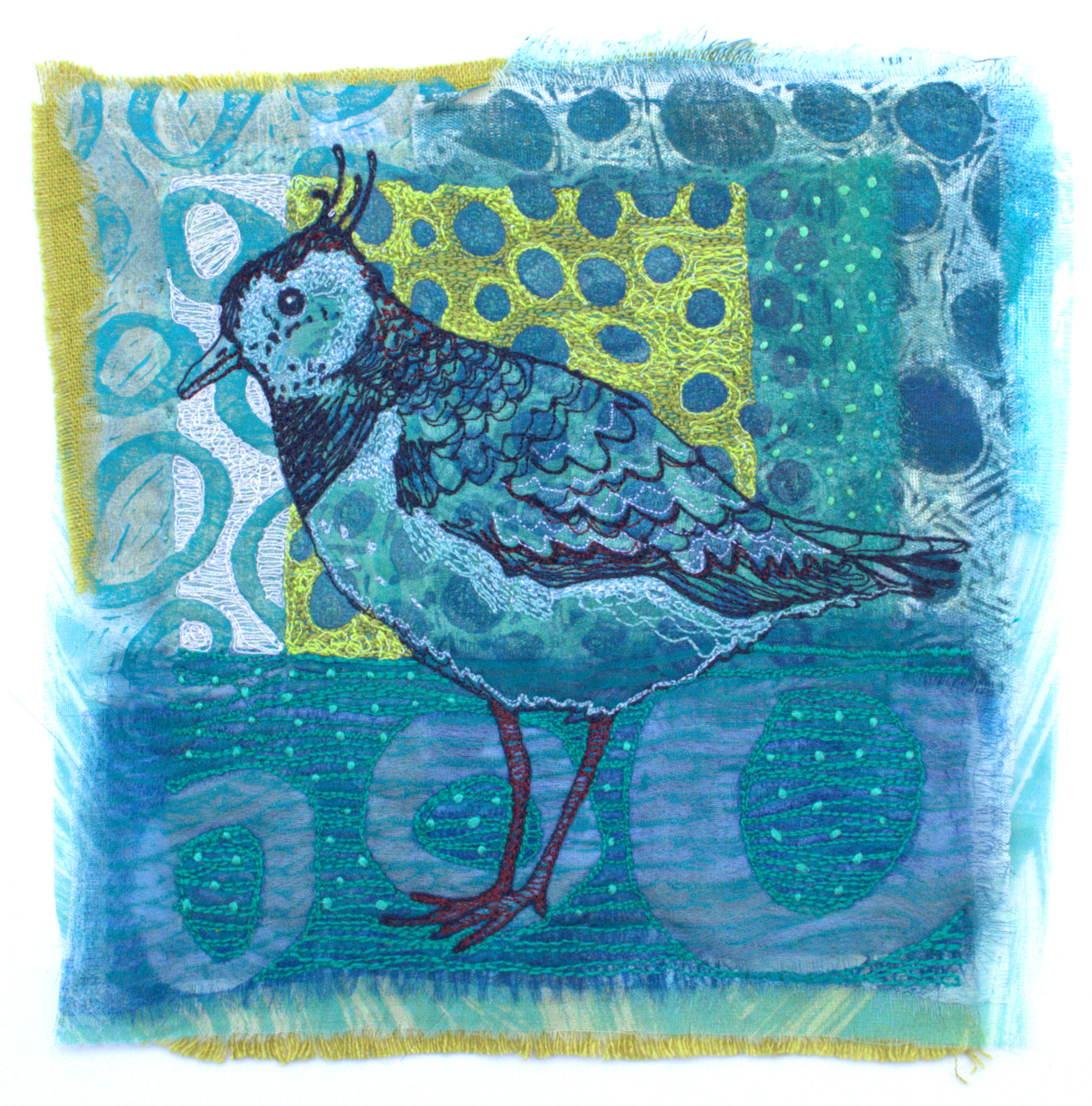 Lapwing, 2021, constructed textile, 18cm x 18cm